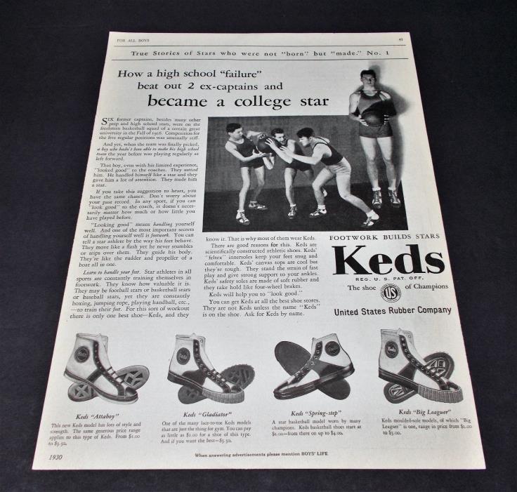 Original vintage 1930 KEDS sneaker basketball shoe ad