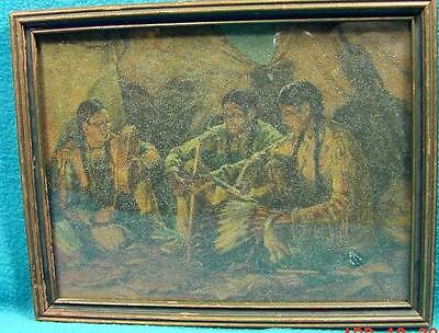 F-112 Antique Framed print, Indian Theme, PARADOX beaded glass overlay, 7X 8 1/2