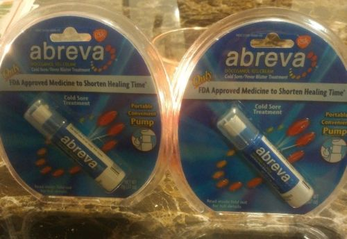 Abreva cold Sore Treatment Portable Convenient Pump LOT of 2 EXP 10.18