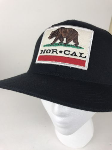 NOR CAL Black Cap Baseball Hat Flexfit California Patch Golden Bear Skate Surf