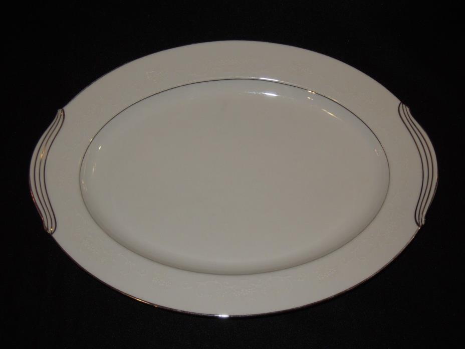 Noritake Whitehall 6115 White Oval Serving Platter 13 3/4