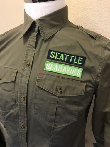 Seattle Seahawks Women's Custom NFL Military Patch Button Up L/S Shirt A37