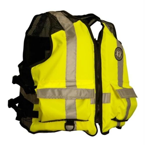 Mustang High Visibility Industrial Mesh Vest - L-XL - Yellow-Black [MV1254T3-L-X