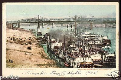 1905 CINCINNATI Ohio OH River LEVEE Paddlewheel STEAMSHIPS Vintage POSTCARD