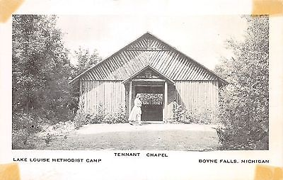 Boyne Falls Michigan~Lake Louise Methodist Camp~Lady @ Tennant Chapel~1950s Pc
