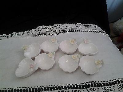 DIP Nut Salt Sugar 8 Rose on .Dish.Pink White Yellow
