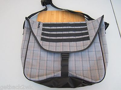 NEW HURLEY LAPTOP BACKPACK STUDENT PACK Messenger BOOK BAG Black Plaid