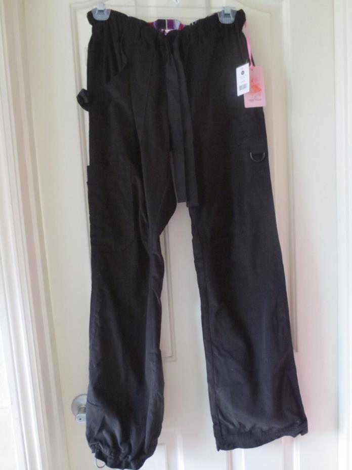 Koi Lindsey Black CORDUROY Cargo Scrub Pants NEW NWT XS S RARE