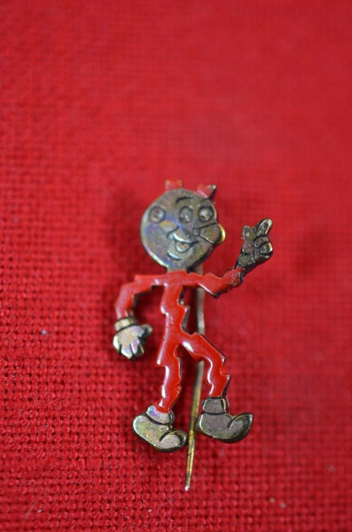 Vintage Reddy Kilowatt Lapel Pin Gold Tone Red Enameled 50's Electricity Ad 900