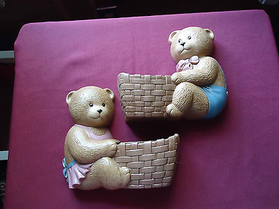 Home Interiors Lot of 2 Bear Wall Pockets