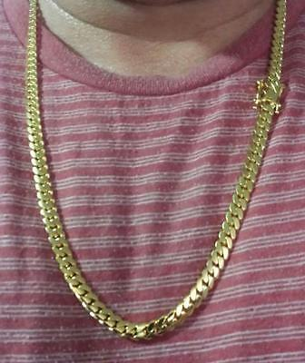 14K Miami Cuban Link Chain Solid Gold, 26