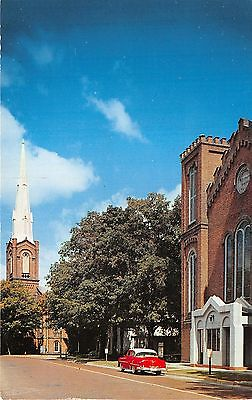 Coldwater Michigan~Methodist & Presbyterian Churches~NICE 50s Car in Street