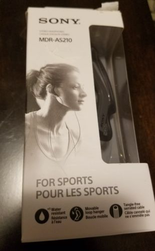 New in Box-Sony MDR-AS210 Sports Earbuds Headphones Water Resistant-Black/Gray