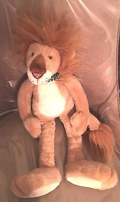 Plush, Stuffed Lion wit Green Necklace. Pre-owned. In Excellent Condition.