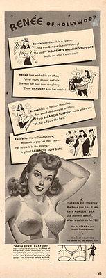 1942 WW2 era Brassiere AD RENEE of Hollywood ACADEMY BRA  became a STAR!  050817
