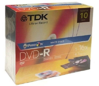 TDK Printable DVD-R With Jewel Cases, 4.7GB/120 Minutes 10 Pack