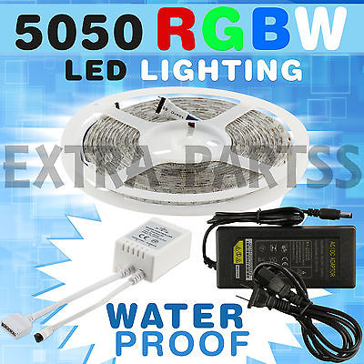 5M SMD 5050 RGB RGBW 300 LED Light Strip Kit 44ir Remote DC 12V Power WATERPROOF