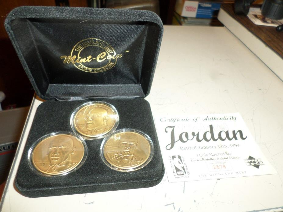 3 coin Michael Jordan Highland Mint Bronze Retirement Matched Set in display box