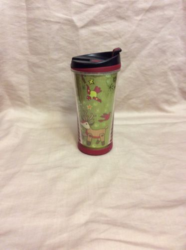 STARBUCKS CHRISTMAS HOLIDAY 2007 REINDEER BIRDS TREE 8 Oz TRAVEL TUMBLER