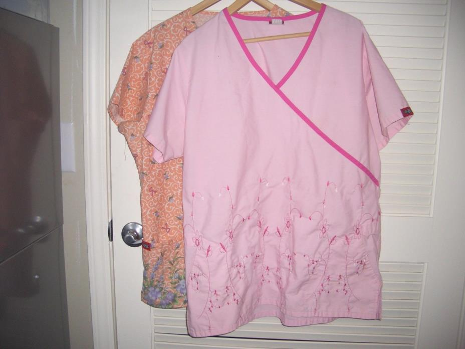 Lot 2 Denice Women's Scrub Top Blouse Size Large/ XL- NICE