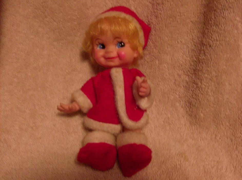 VINTAGE CHRISTMAS Little GIRL Elf/Pixie*In Red/White Suit*Blonde Hair