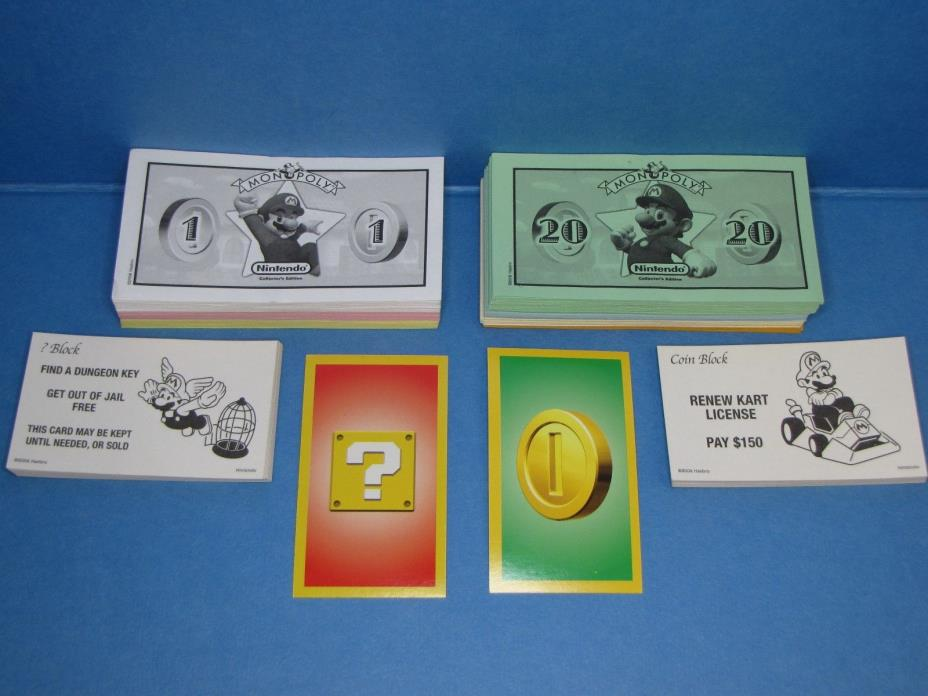 Monopoly Board Game Nintendo Collector's Edition Pieces - Money and Action Cards