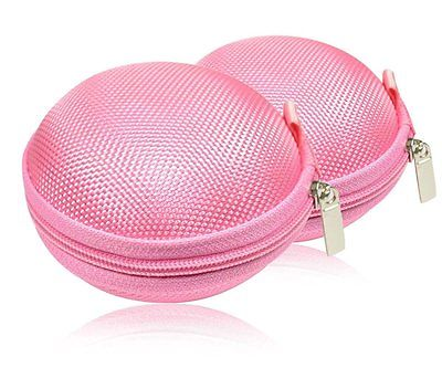 2 Pink Portable Hard Case Clamshell Zipper Bluetooth Headset Earbud