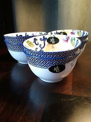 Ralph Lauren Mandarin Blue Fruit/Cereal Bowls BRAND NEW! Set of 6 Fine China