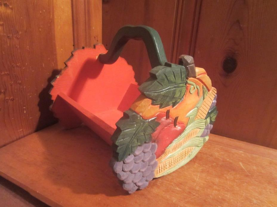 Country Decor Fruit & Vegetable Wood Basket Handle Recipe Letter Holder Kitchen