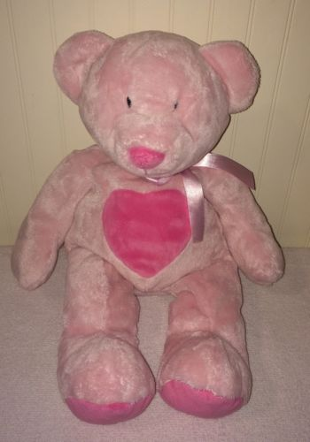 First Impressions Pink Plush Teddy Bear Baby Heart Ribbon Neck Beanbag 15