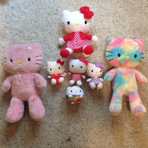 Hello Kitty Plush Lot Beanie Babies Build A Bear Tye Die