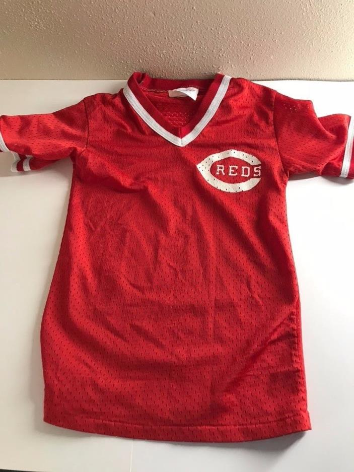 Vintage 80s Cincinnati Reds Majestic Mesh Shirt Jersey Youth S