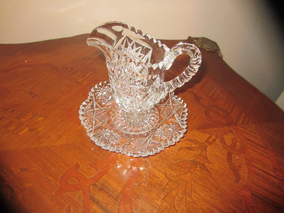 Cut Glass Pitcher 4 3/4 inches high and Plate 6 inches wide