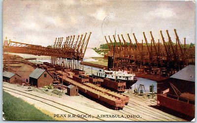 Ashtabula, Ohio Postcard PENN R.R. DOCK Pennsylvania Railroad 1908 Cancel