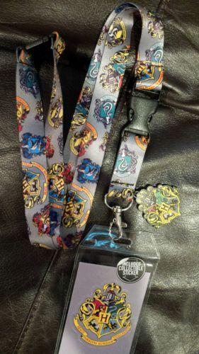 Harry Potter Lanyard ID Badge Holder Keychain with Charm Hogwarts Crest