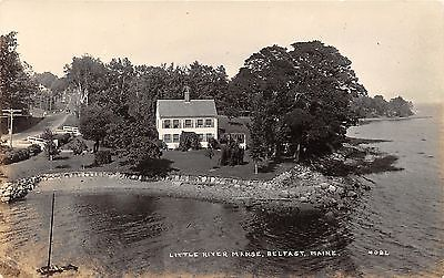 Belfast Maine~Little River Manse~Beautiful House~Stone Wall on Beach~c1914 RPPC