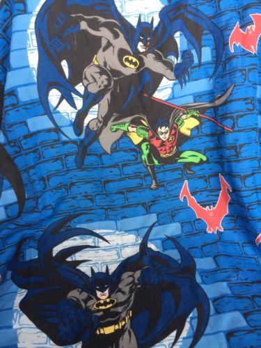 DC Comics 1999 BATMAN & ROBIN Vintage Twin Size Flat Bed Sheet