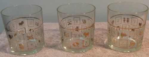3 Zodiac Astrology Glass Tumblers Gold White Clear Cup