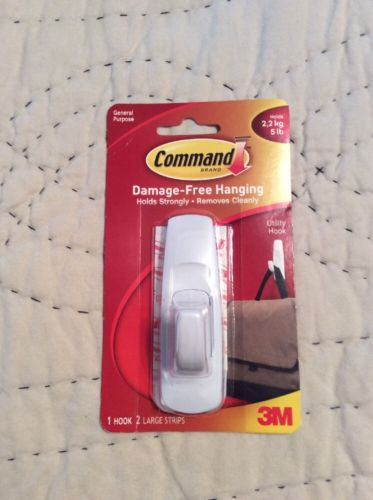 3M Command Large Utility Hook 5 Lb 1 Hook 2 Large Strip 17003 General Purpose