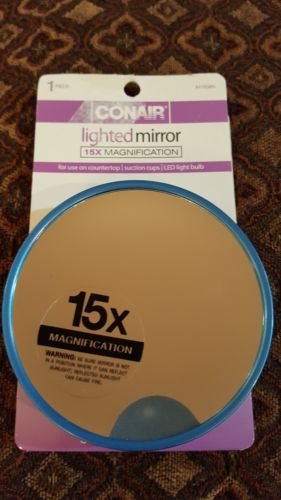 Conair 15x Magnification Lighted Mirror  shelf pull
