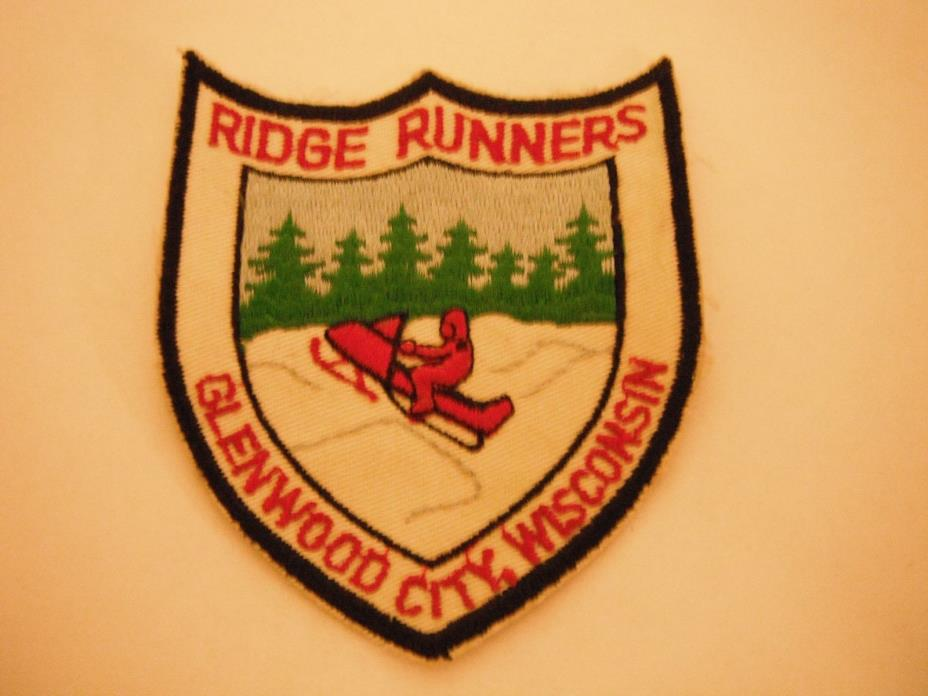 Vintage Glenwood City, Wisconsin Ridge Runners Snowmobile Club Patch