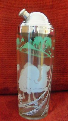 Vintage 50's Glass Martini Shaker * Oasis with Camels * Very Good Condition