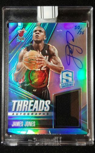 2013-14 Panini Spectra James Jones 15-16 Replay Auto Jersey (50/75) Miami Heat