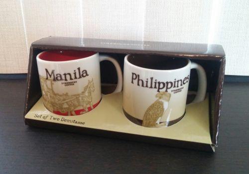 STARBUCKS Box Set of 2 Demitasse Coffee Cups 3 oz Mugs Manila/Philippines NEW