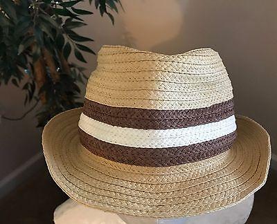 Small/Medium Eddie Bauer Men's 100% Paper Straw Hat w/Metal Bird Emblem NWOT