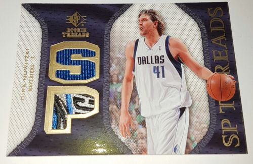 Dirk Nowitzki 07/08 SP Rookie Threads Game Used Logo Patch Rare Mavericks