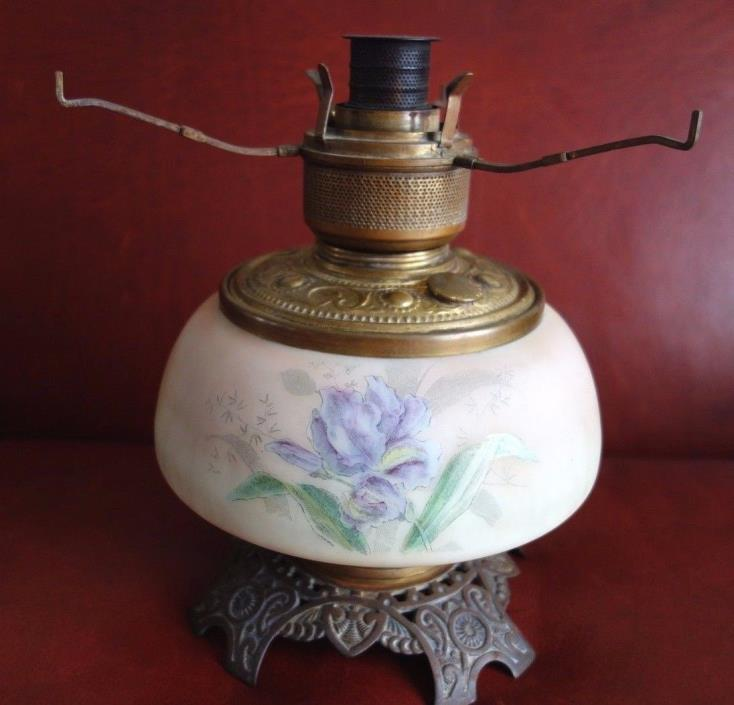 Antique 1880-90s Kerosene Lamp Satin Glass Font w Irises Trenton Improved Burner