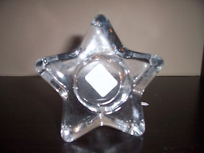 CRATE & BARREL - STAR TEALIGHT CLEAR CANDLE HOLDER - NEW