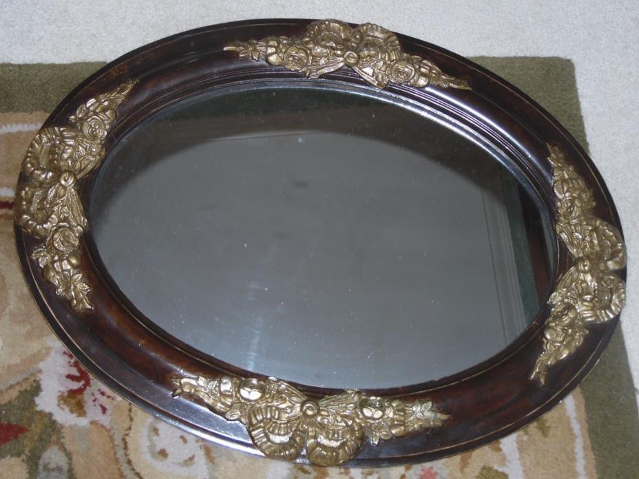 Vintage Oval Wood Mirror Gold Gilded Art Deco Roses 25