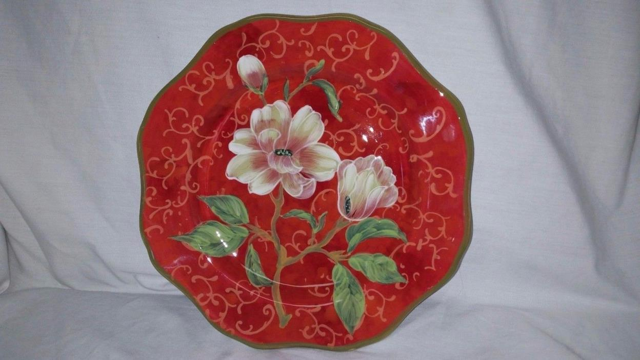 Patricia Brubaker Certified International Flower Red Porcelain Plate